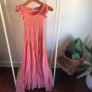 Free People Pink Coral Long Sleeveless Dress LG